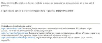 Así es el e-mail que se enviará  a cada participante del juego